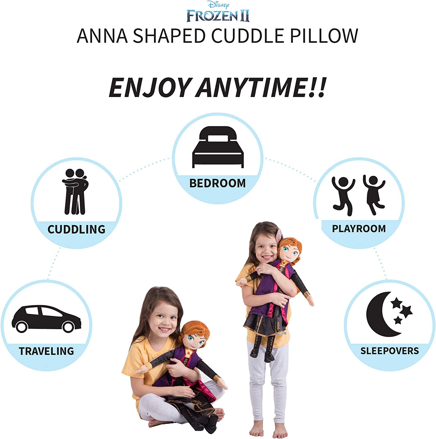 Franco Kids Bedding Super Soft Plush Cuddle Pillow Buddy, One Size, Disney Frozen 2 Anna