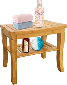 VaeFae Bamboo Shower Bench Bathroom Stool, Spa Bath Shower Stool with Storage Shelf, Wood Bench for Indoor Outdoor Use