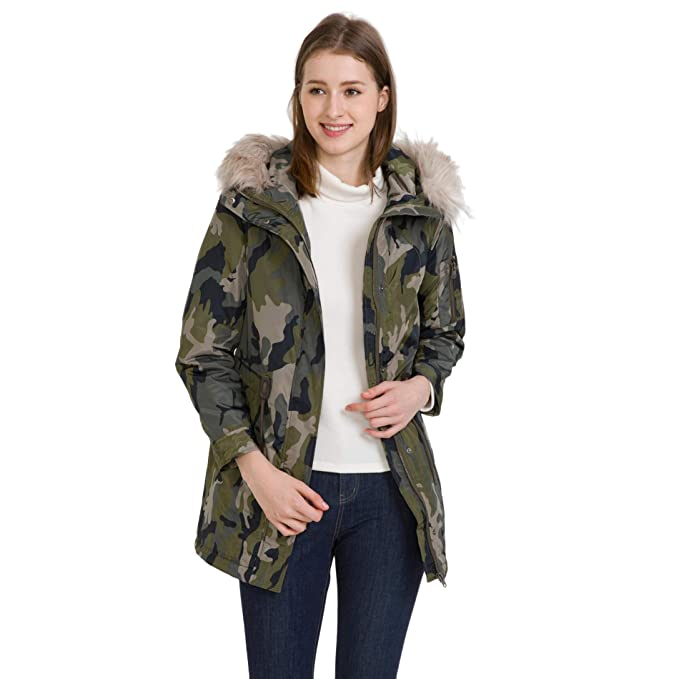 ee04679248d bossini Green Selection Womens Camo Print Tunic Hooded Padded Jacket XS,US  Size 0/