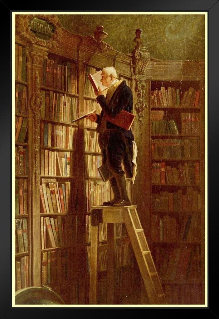 Carl Spitzweg The Bookworm Framed Poster by ProFrames 14x20 inch