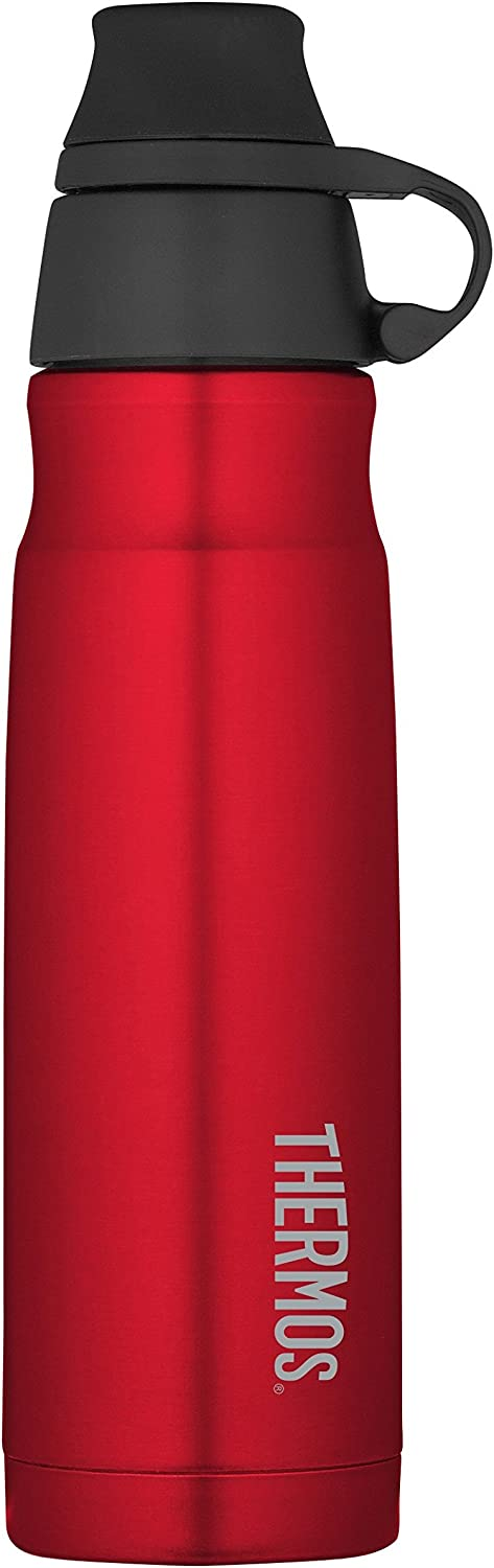 THERMOS Vacuum Insulated Stainless Steel Carbonated Beverage Bottle, 17-Ounce, Red