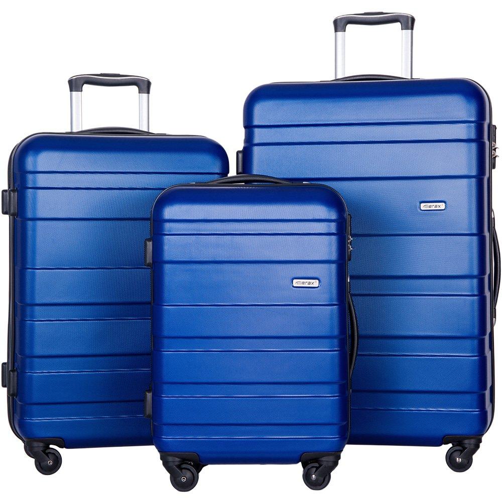 Merax Aphro 3 Piece Luggage Set Lightweight ABS Spinner Suitcase (Blue)