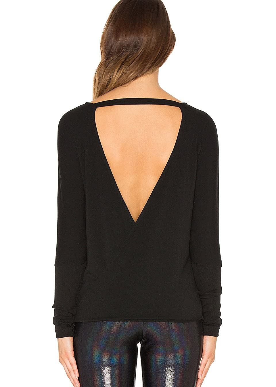 Bestisun Womens Long Sleeve Back Cut Out Top Open Back Crossover Workout Casual Shirt