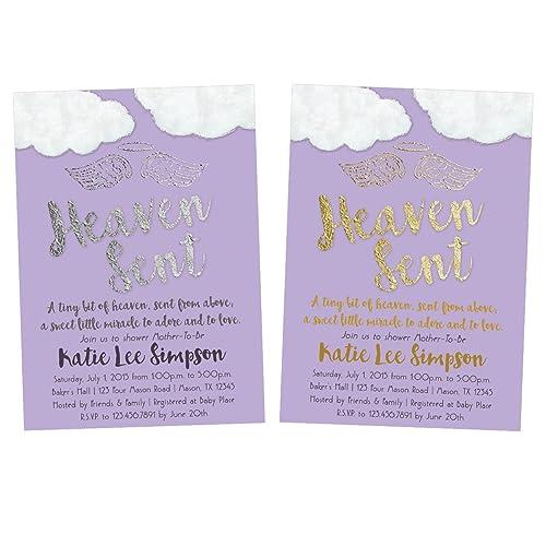Amazon purple heaven sent baby shower invitations girl gold purple heaven sent baby shower invitations girl gold silver filmwisefo