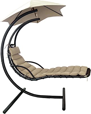 Island Umbrella Island Retreat Hanging Lounge W/Shade Canopy, Khaki