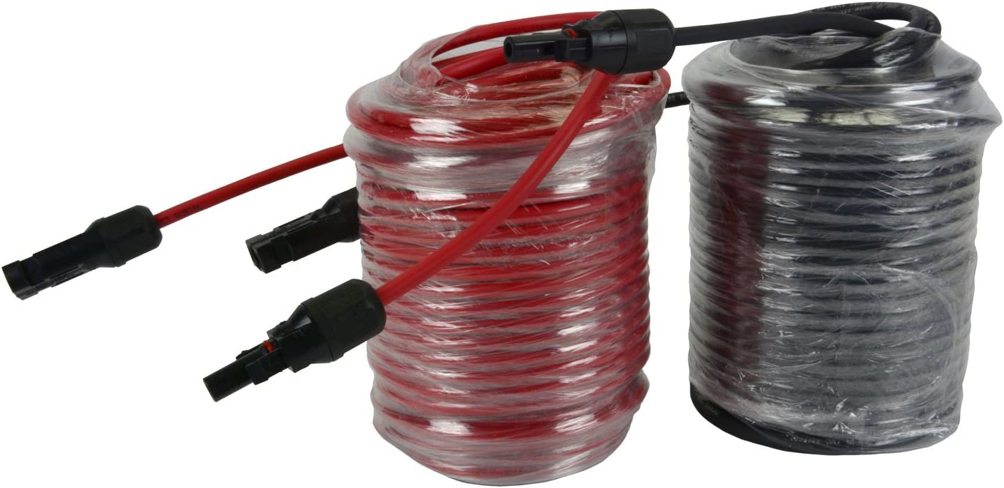 2 Pairs 100 ft Solar Panel Extension Connector 10 AWG PV Cable Wire Red