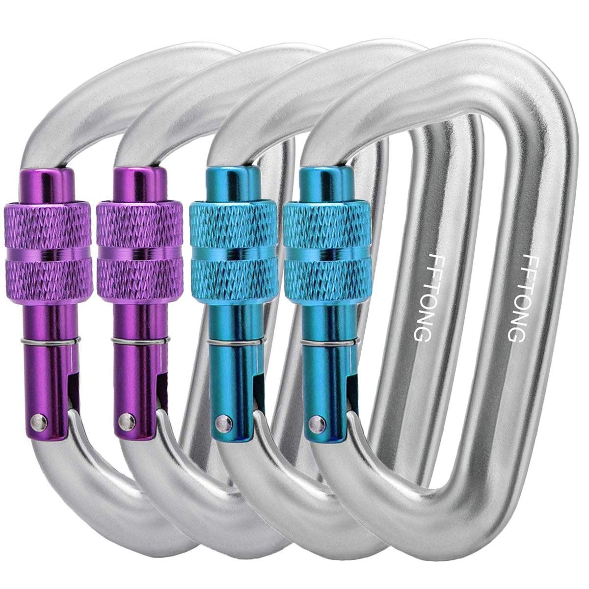 Keychain Dog Leash /& Harness etc. Camping Hiking Backpacking FTON Locking Carabiners 12KN//2697lbs Aerospace Aluminum Alloy 7075 D Ring Screw Locking Carabiner Clips for Hammock