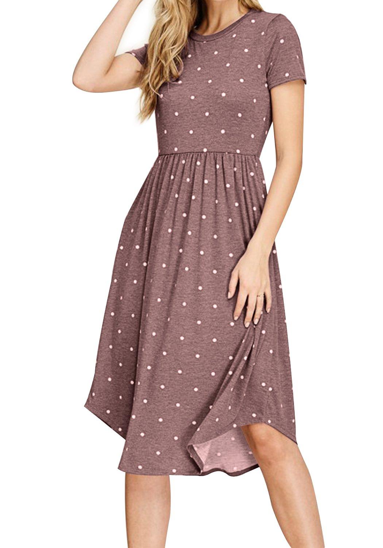 Simier Fariry Womens Summer Polka Dot Pockets Loose Casual Midi Dress Coffee M
