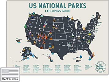 """USA National Park Scratch Off Map (24"""" x 17"""") - Interactive Travel  Scratch-Off Poster Reveals Images of All 61 US National Parks - Great  National Park ..."""