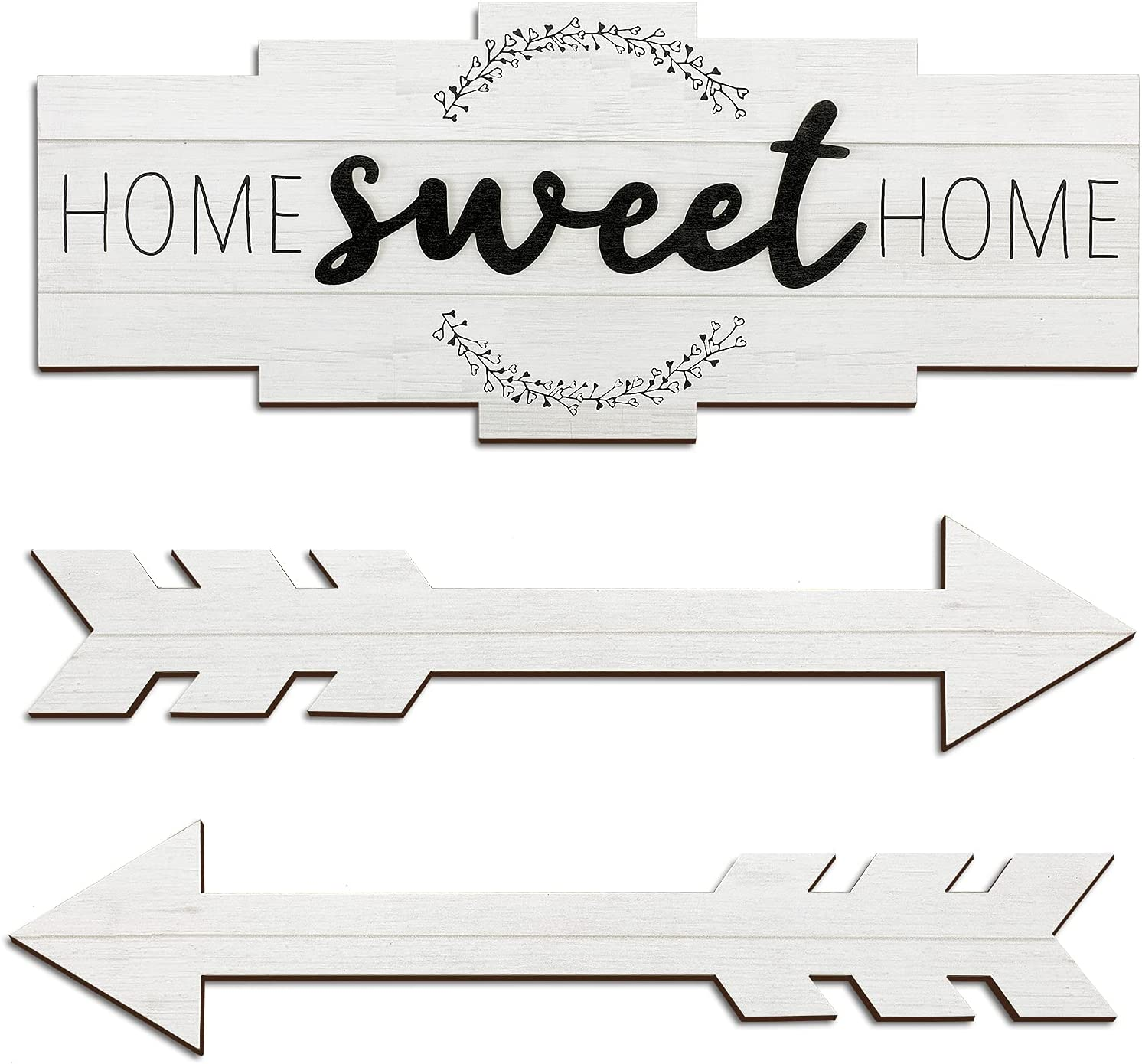 Set of Home Sweet Home Arrow Sign, Rustic Wood Home Wall Decor, Large Farmhouse Arrow Sign Plaque Wall Hanging for Bedroom, Living Room, Party, Wedding Decor (Simple Color)