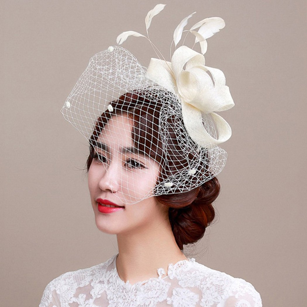 Aukmla Billycock Feather Mesh Net Veil Party Hat Derby Hat with Hairband