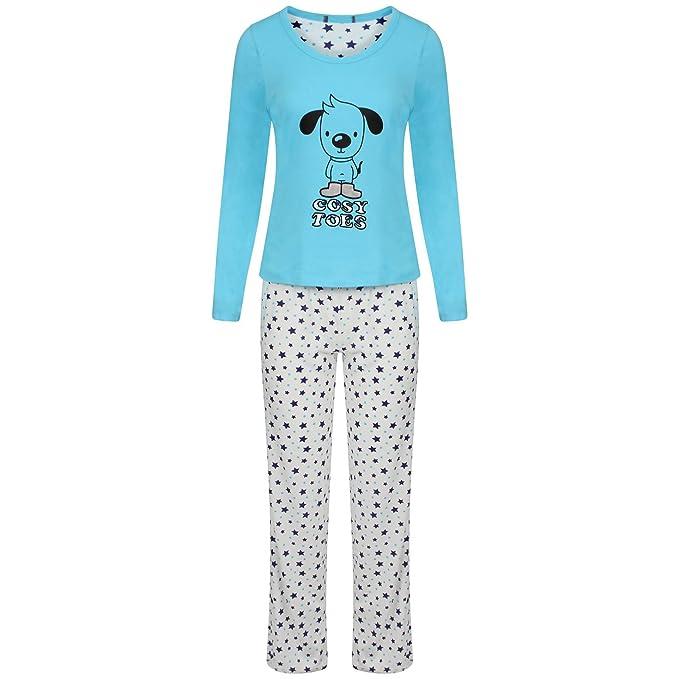 Para mujer diseño de estampado animal manga larga Mujer Pijama Set 100% algodón PJ de ropa: Amazon.es: Ropa y accesorios