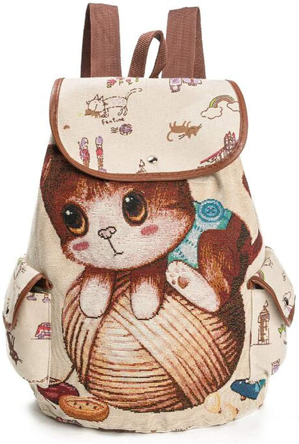 PU Leather Shoulder Bag,Cat And Bird Backpack,Portable Travel School Rucksack,Satchel with Top Handle