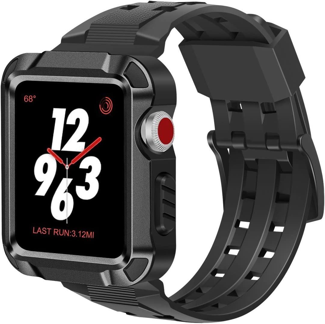 iiteeology Compatible with Apple Watch Band 42mm, Men Metal Rugged Apple Watch Case with Sports Breathable iWatch Bands for Apple Watch 42mm Series 3 Series 2 Series 1-Black