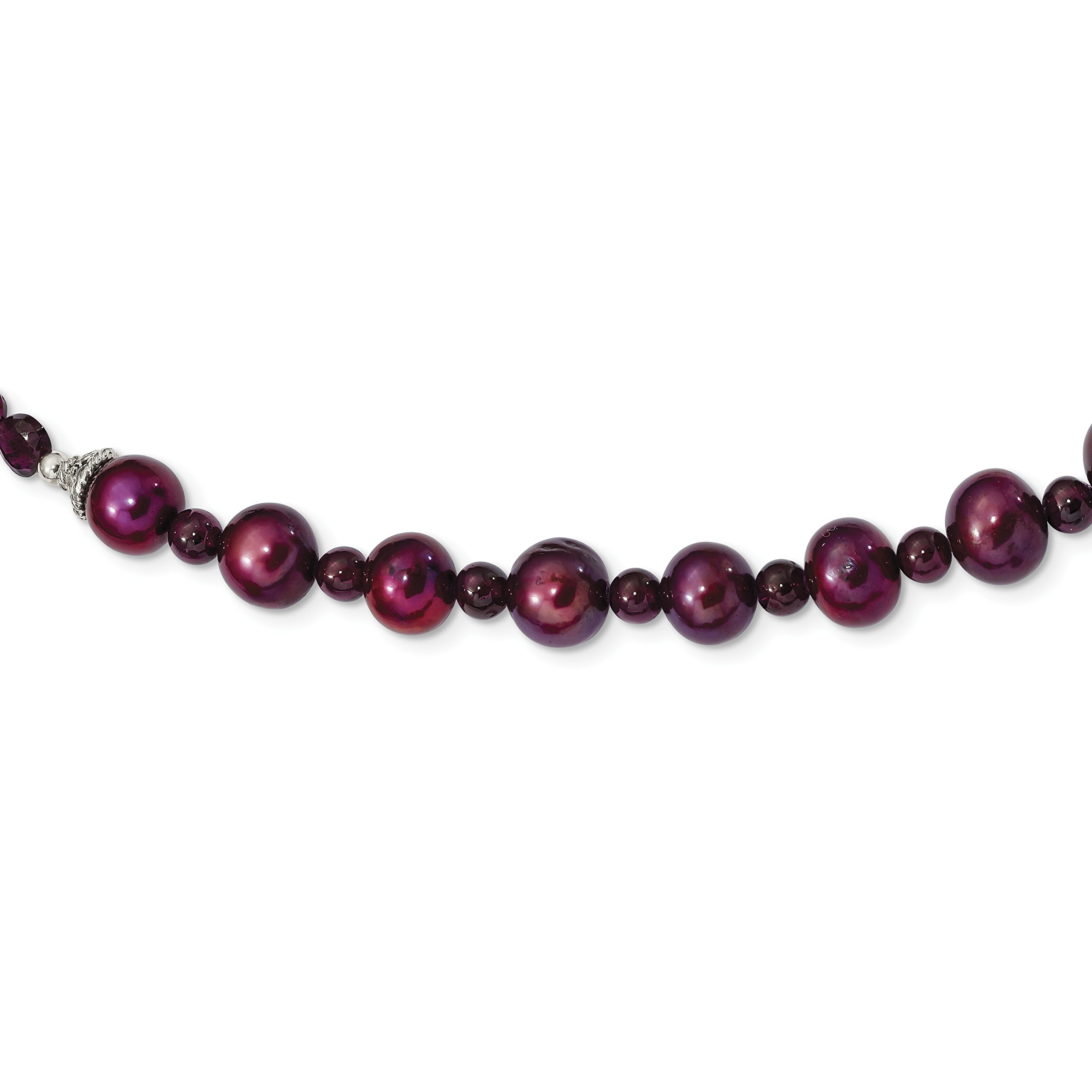 ICE CARATS 925 Sterling Silver Red Garnet 7mm Cranberry Freshwater Cultured Pearl Chain Necklace Gemstone Fine Jewelry Gift Set For Women Heart