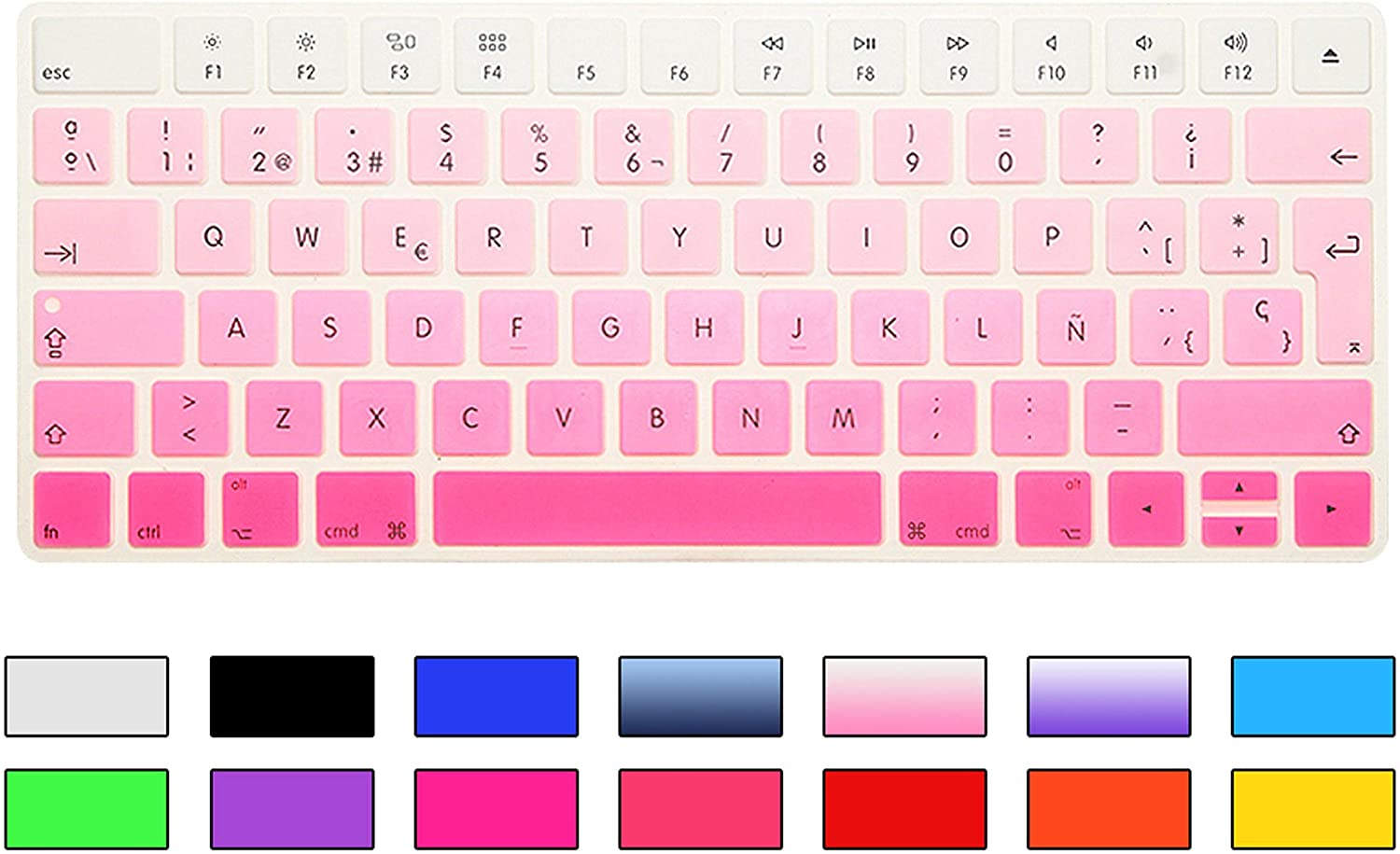 Zhanghouselan Spanish Keyboard Cover Silicone Skin for Magic Wireless Bluetooth Keyboard Mla22Ll//A ,Gradient Pink A1644,2015 Released
