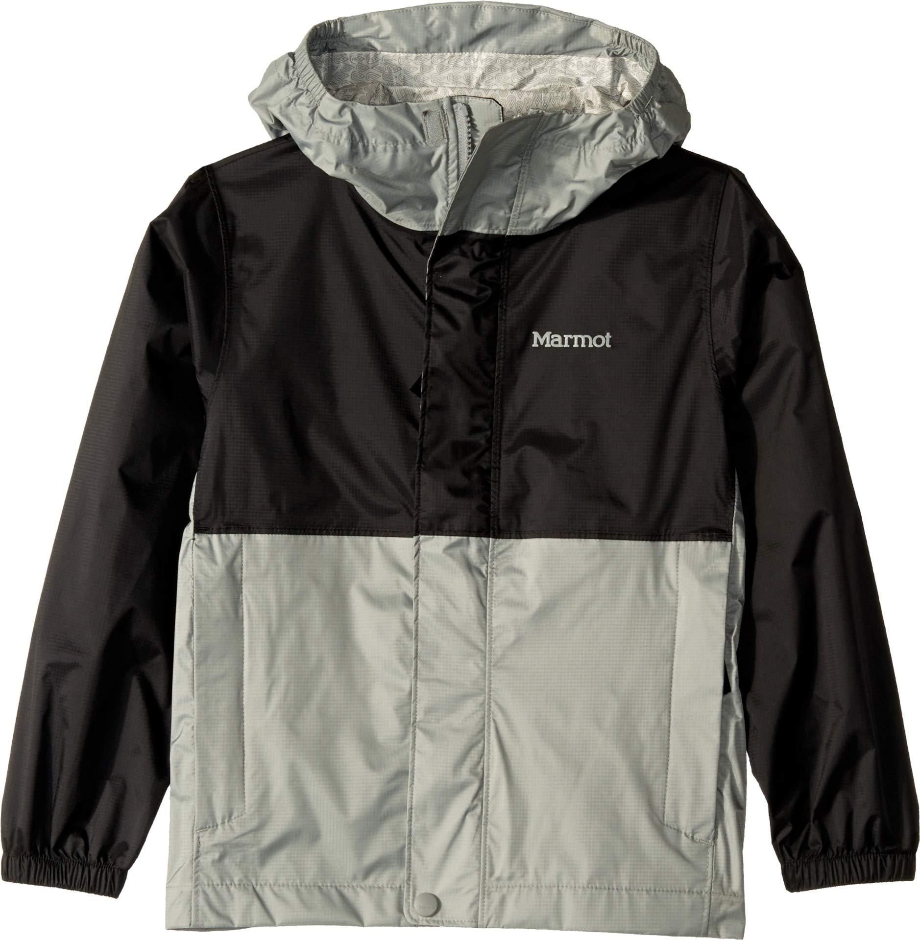 Marmot Kids Boy's PreCip¿ Eco Jacket (Little Kids/Big Kids) Black/Grey Storm Large