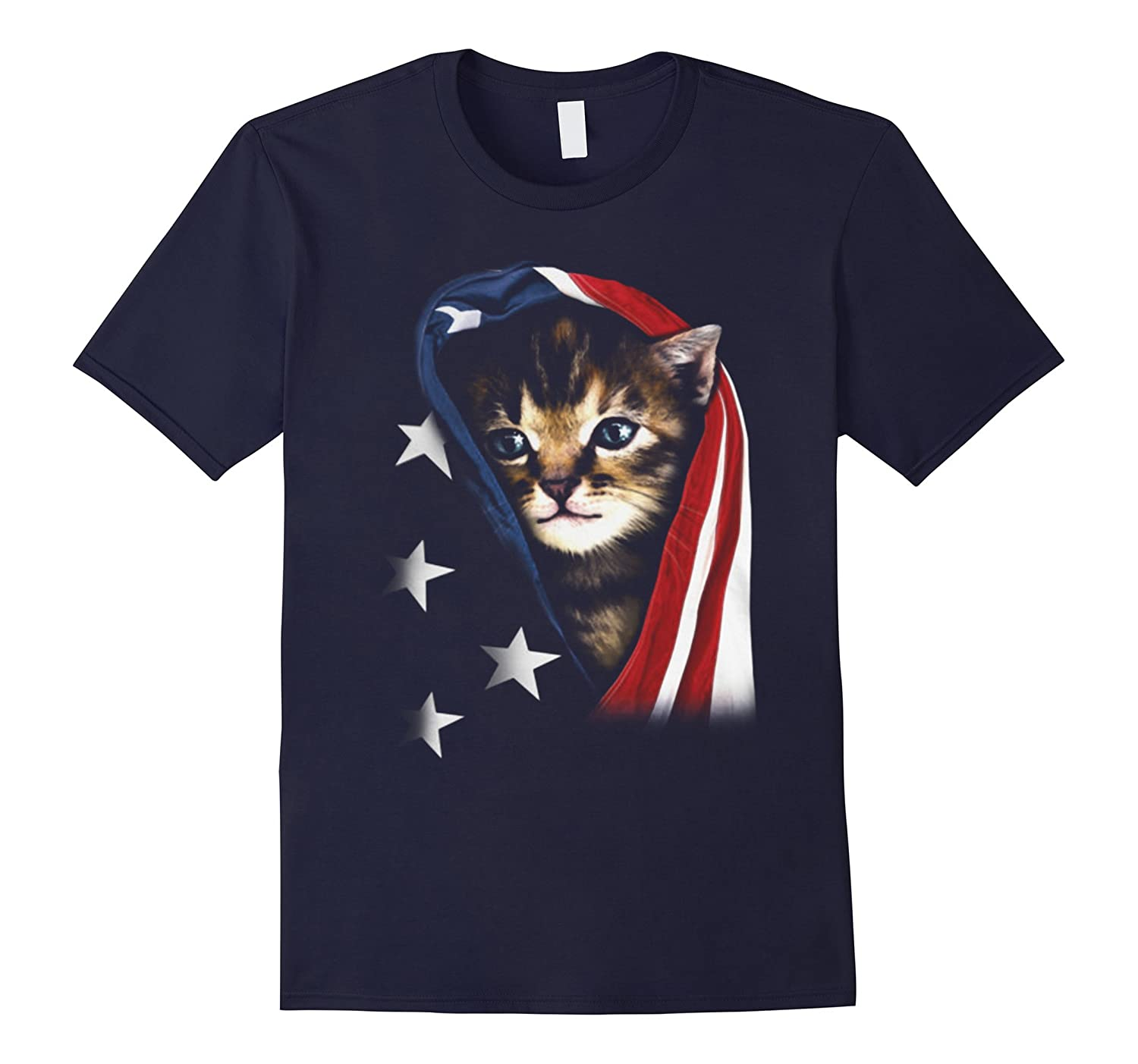 Cat Wth America Flag T-Shirt-CL