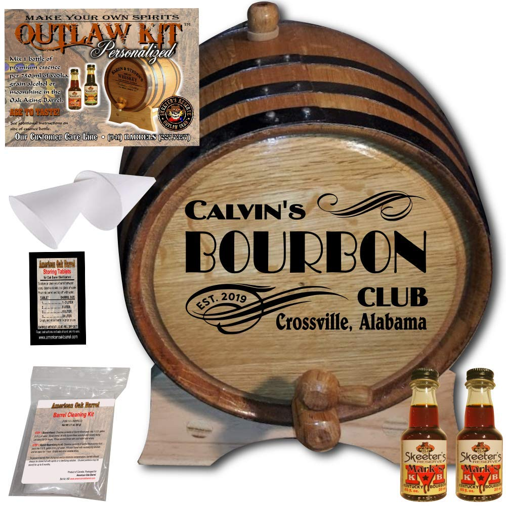 Personalized Whiskey Making Kit (202) - Create Your Own Mark's Kentucky Bourbon Whiskey - The Outlaw Kit from Skeeter's Reserve Outlaw Gear - MADE BY American Oak Barrel - (Oak, Black Hoops, 2 Liter)