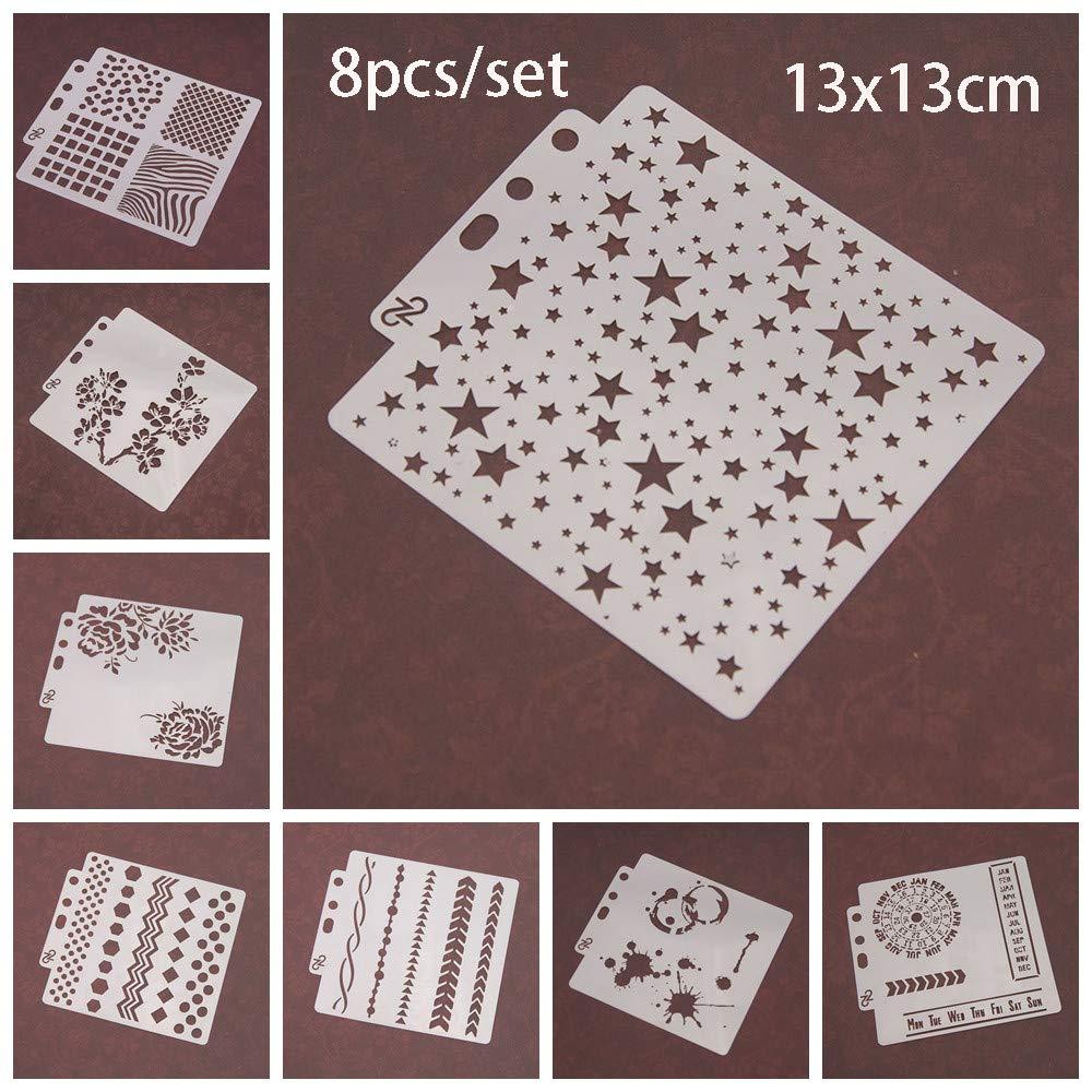 8pcs/Set DIY Craft Star Layering Stencils for Walls Painting Scrapbooking Stamp Album Decor Embossing Paper Card Template by ZDUANG (Image #1)