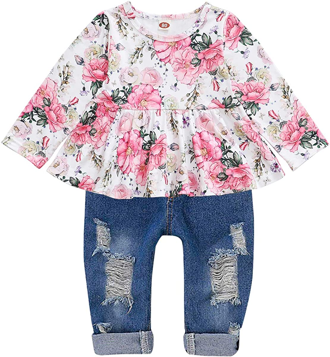 Amazon.com: CARETOO Girls Clothes Outfits, Cute Baby Girl Floral Long  Sleeve Pant Set Flower Ruffle Top: Clothing