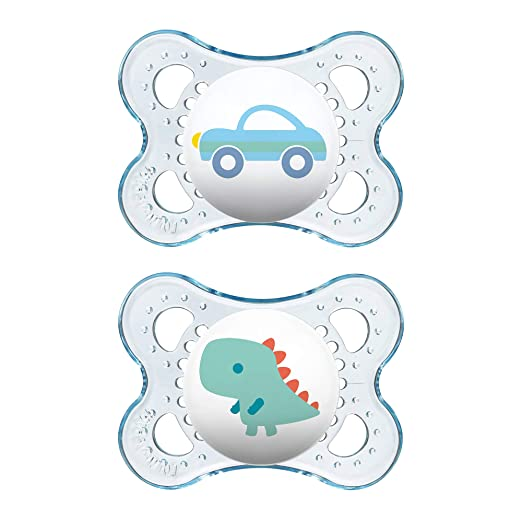 MAM Pacifiers, Baby Pacifier 0-6 Months, Best Pacifier for Breastfed Babies, Clear Design Collection, Boy, 2-Count