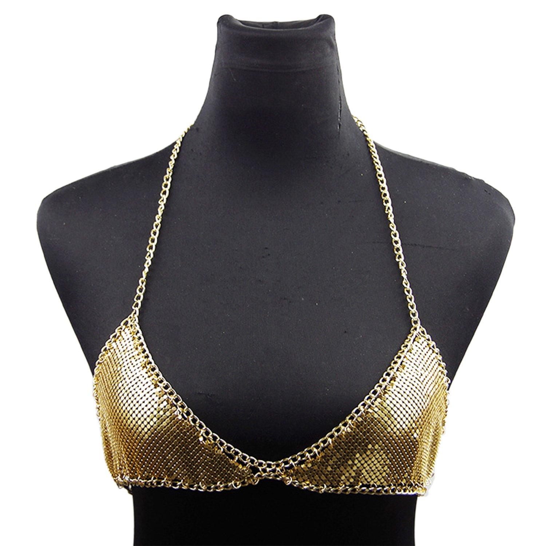 Croozy Womens Shiny Bra Bikini Chains Jewelry Sexy Bra Body Chains Metal Sequin Nightclub Party Bra Breast Chest Chain (Gold)