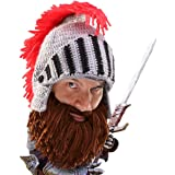 Beard Head Knight Beard Beanie - Funny Knitted Helmet and Fake Beard and  Visor 4d11e68b7ef