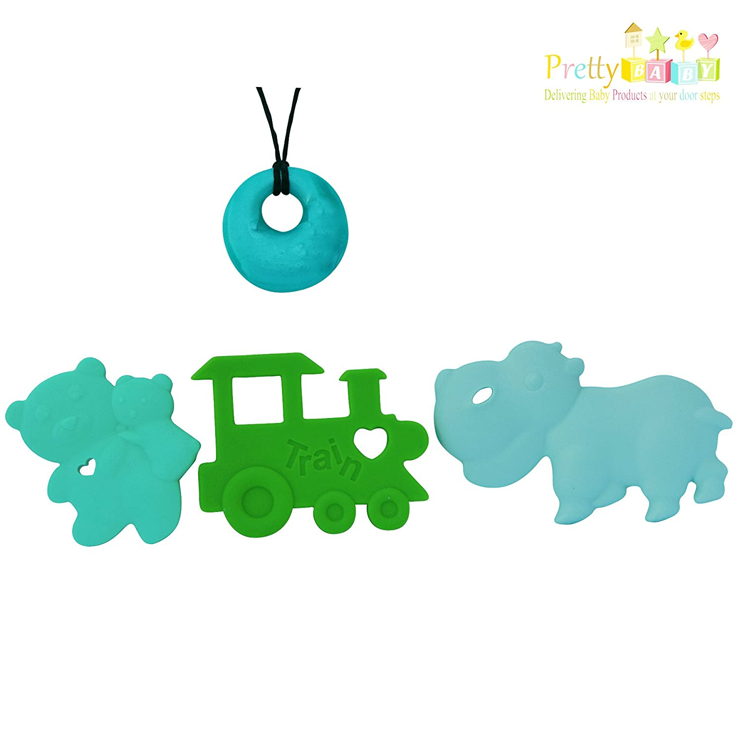 Bonus Teething Necklace FREE Soft Chewy Teethers For Baby Shower Gifts Baby Gifts Pretty Baby Products Baby Teethers /& Baby Teething Necklace Combo 4 Baby Teether Toys To Reduce Teething Pain /& Inflammation