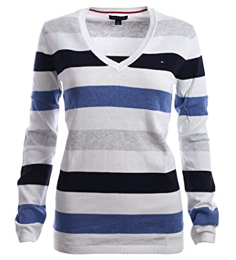 244a1effbb Tommy Hilfiger Women s V-Neck Sweater Striped at Amazon Women s ...