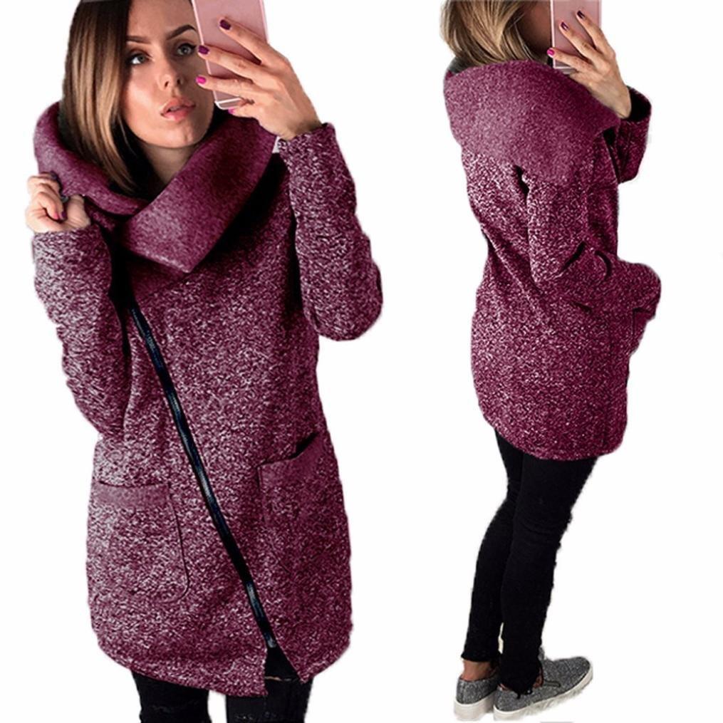 Gillberry Womens Casual Hooded Jacket Coat Long Zipper Sweatshirt Outwear Tops Gillberry-65876