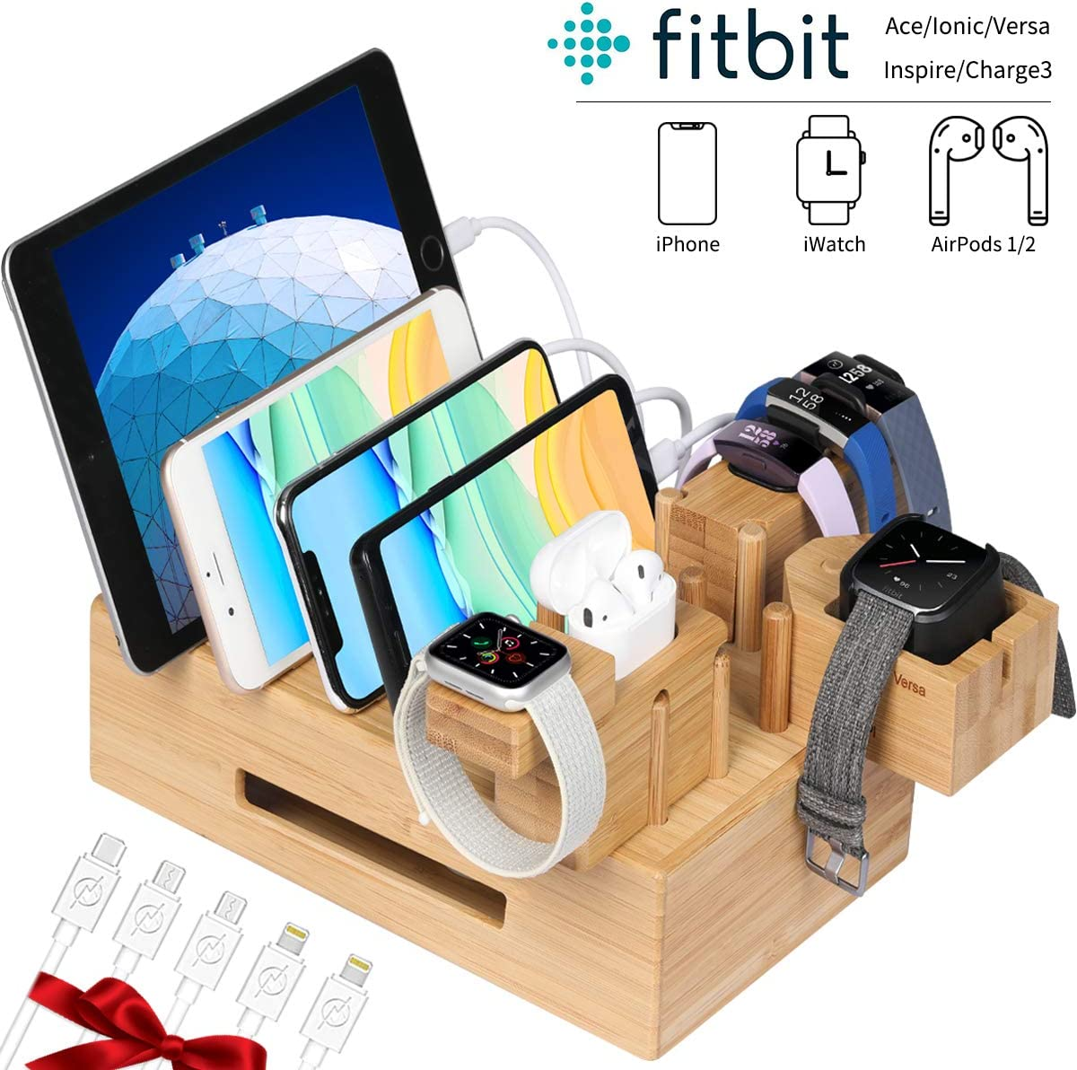 Bamboo Charging Station Organizer for Multiple Devices with iWatch and Airpods Stand, Fitbit Charging Stand | Desktop Docking Station Organizer(5 Cables Included, No USB Charger)
