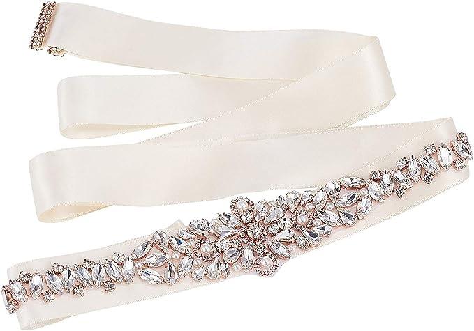 SWEETV Cristallo Cintura Rhinestones Fascia Abito da Sposa Accessori Cintura Strass Matrimonio