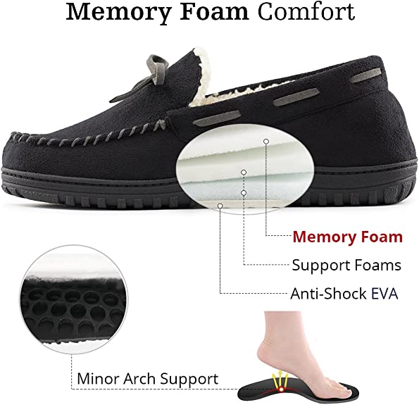 VeraCosy Mens Memory Foam Warm Faux Wool Lined Moccasin Slipper