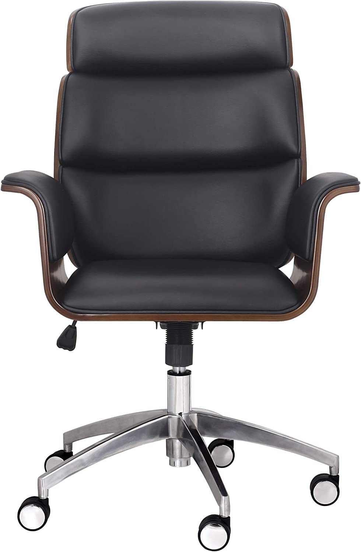Christopher Knight Home Leander Mid-Century Modern Swivel Office Chair, Black + Walnut + Silver