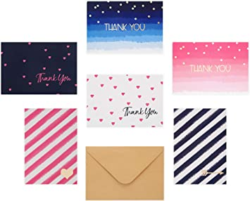 Thinking of You Thank You Stars and Stripes Notecards Set of 6 Handmade Cards Blank Cards with Envelopes All Occasion Cards