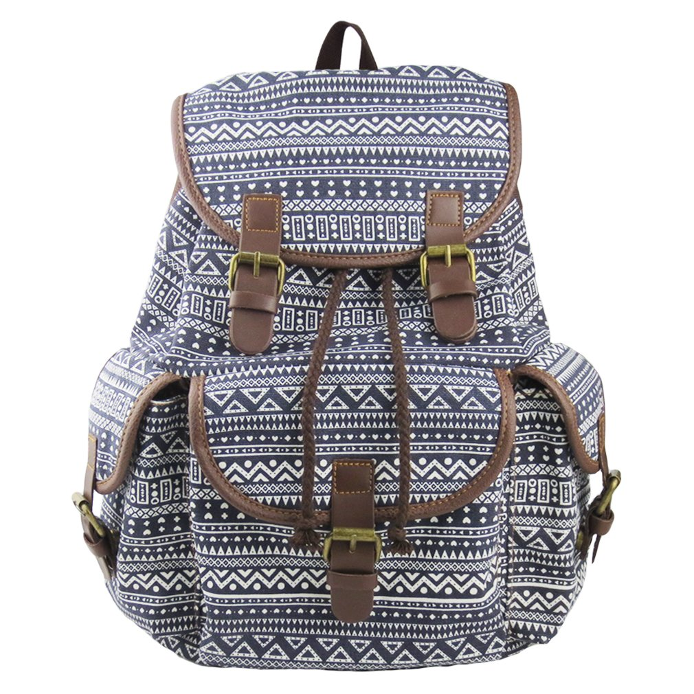 Imiflow Backpack for School Girls College Schoolbags Casual Laptop Purses Book Bags (Gree Pattern)