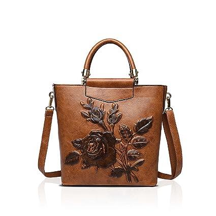 NICOLE & DORIS Femmes en cuir PU impression en trois dimensions Vintage sac à bandoulière dames sacs à main fourre-tout, sac à main Brown