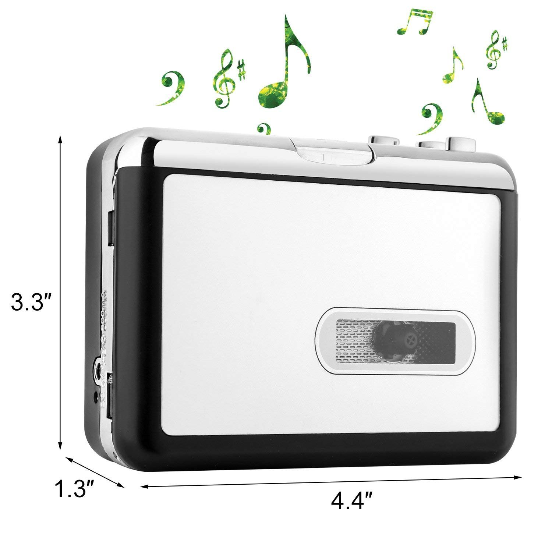 CamKing Cassette Converter, Cassette Tape Recorder Player Tapes to MP3 Digital Converter, Portable Tape Player Captures MP3 Audio Music via USB