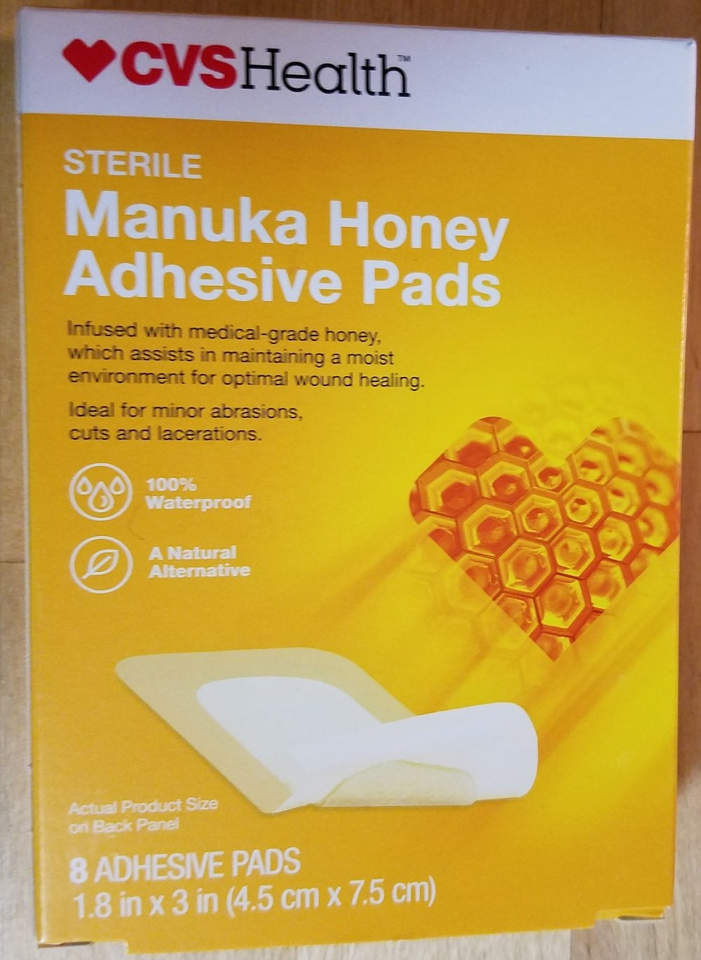 CVS Manuka Honey Adhesive Pads 1.8'' x 3'' 8 Count