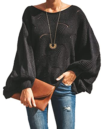ae63a0573f14 HZSONNE Women s Casual Boho Batwing Ruffle Hem Loose Fit Crochet ...