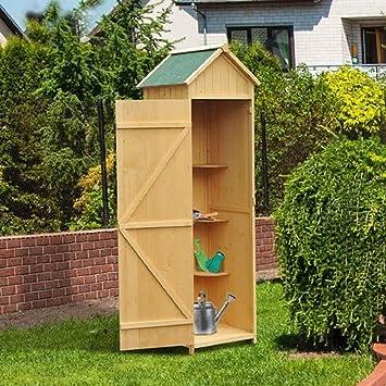 Paylesswithss Vertical Utility 3 estantes cobertizo de madera armario de almacenamiento: Amazon.es: Jardín