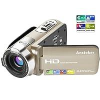 Caméscope 1080p Ansteker Caméra Vidéo Numérique HD 24MP 16X Zoom Numérique avec Rotation de 270 Degrés 3.0 in TFT-LCD (16: 9) Ecran (Or)