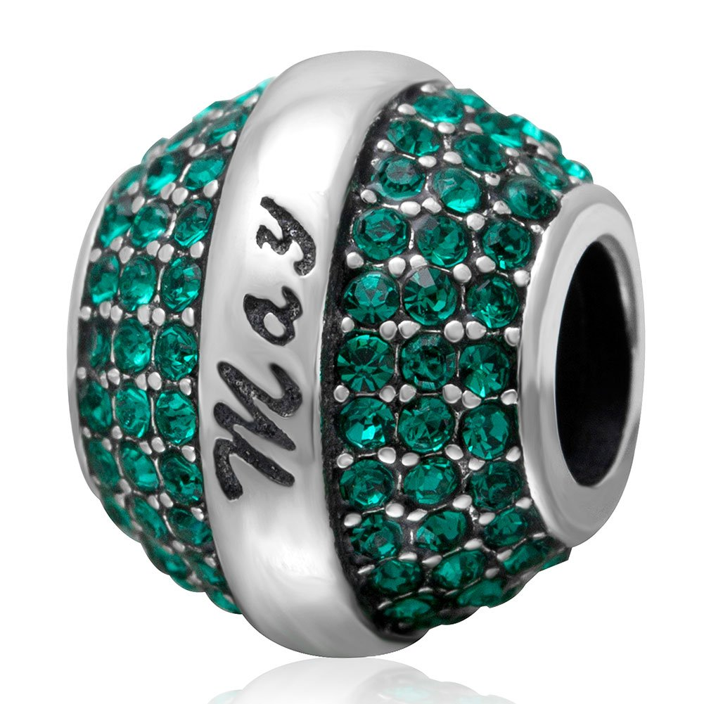 Birthstone-Crystal-Round-Bead-Charm-925-Sterling-Silver-Beads-for-European-Charms-BraceletGreat-Gift-Idea-on-BirthdayAnniversaryValentines-Day-Mothers-Day-and-Christmas-Day