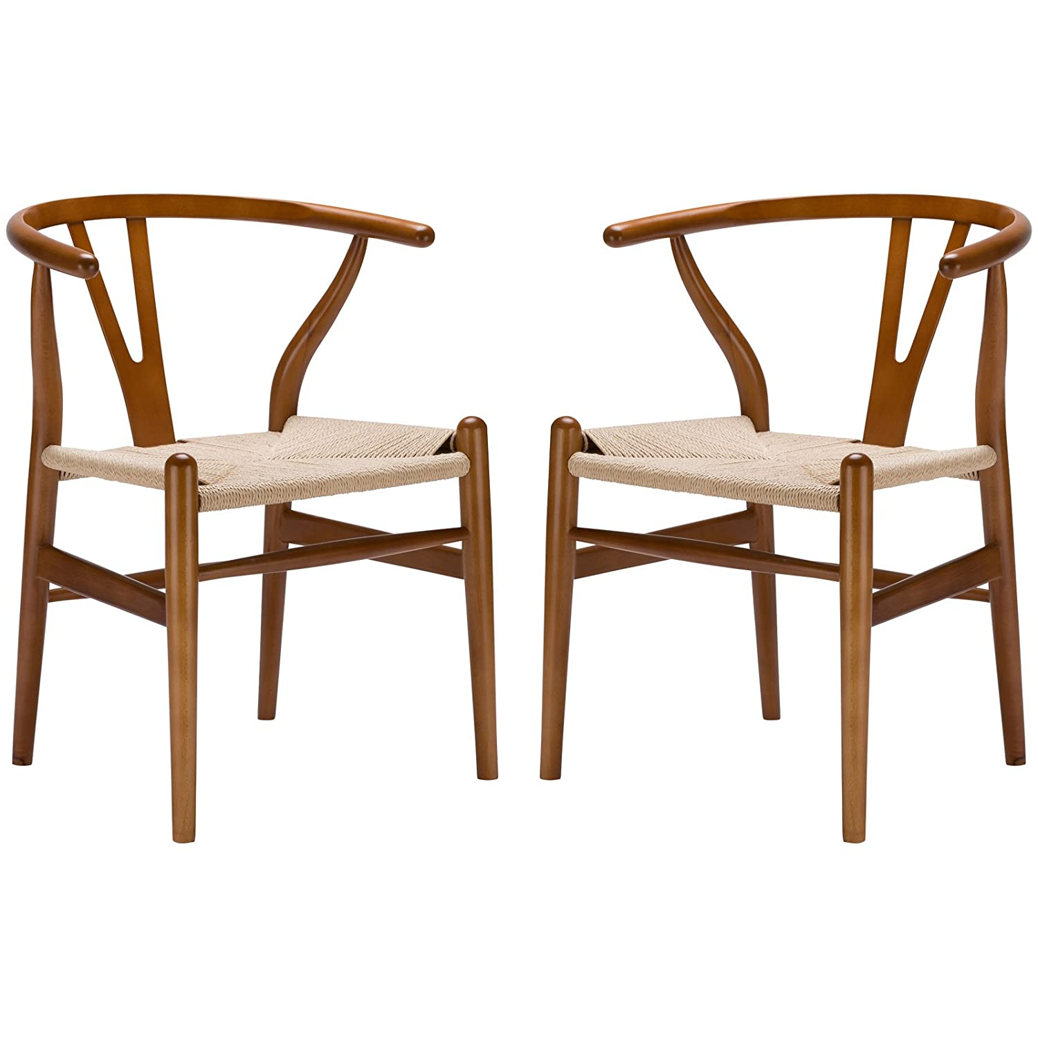 Poly and Bark Wegner Wishbone Style Chair - Walnut - Set of 2