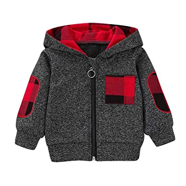 5495f21a4a1 Amazon.com  ZHANGVIP Infant Toddler Kids Baby Boys Girls Plaid Hooded  Zipper Up Tops Sweatshirt Warm Coat Jacket Pullover Clearance  Clothing