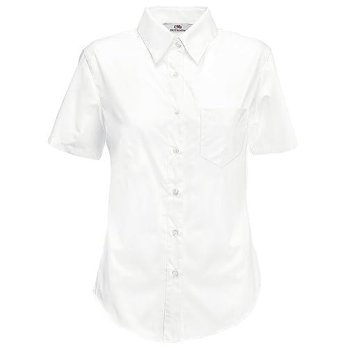 Fruit Of The Loom- Camisa de manga corta de popelina para mujer
