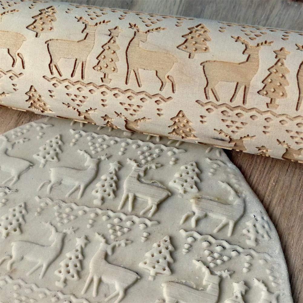 whelsara Mattarelli di legno di Natale per la cottura in rilievo professionale Dough Roller per i cookie con i modelli there