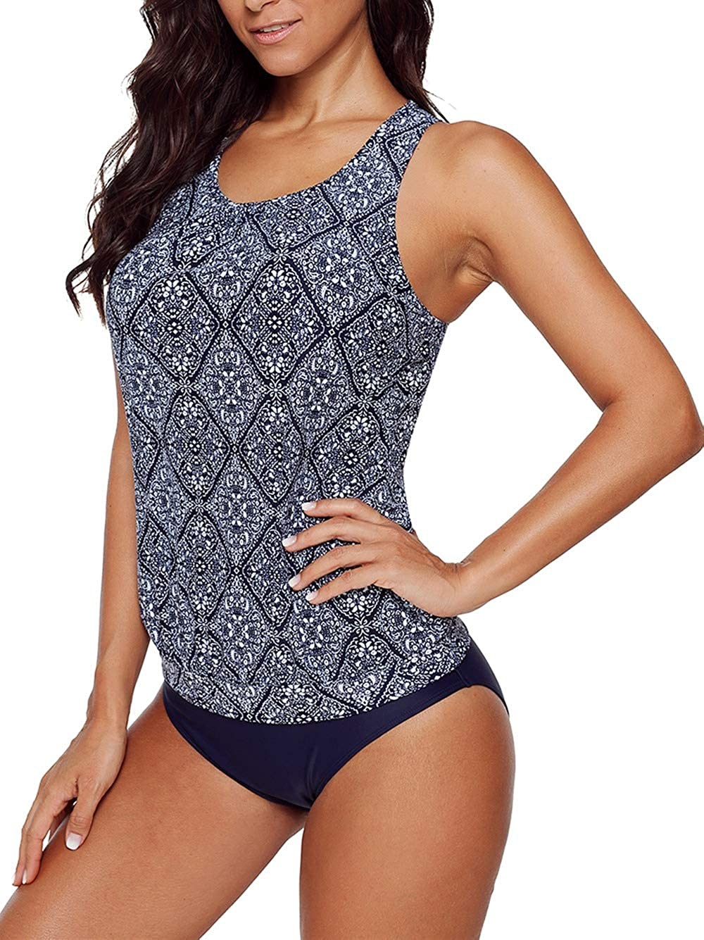 5b93dbcd934d2 Happy Sailed Women Push Up Padded Printed Sporty Tankini Swimsuits Bathing  Suit S-XXL at Amazon Women's Clothing store: