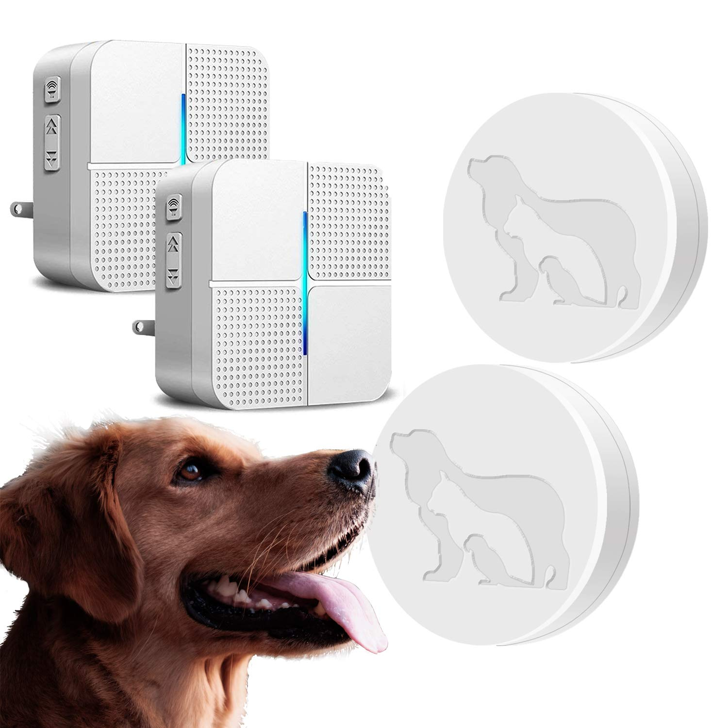 Dog Wireless Door Bell (2 Receiver & 2 Transmitters) - JOYSAE Upgrade Doggie Doorbell Chime for Potty Training with Touch Button Press Waterproof and Greater Surface Area by JOYSAE